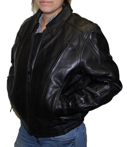 Women's Nice Biker Fitted Bomber Soft Cow Hide Leather Jacket - 5X Large
