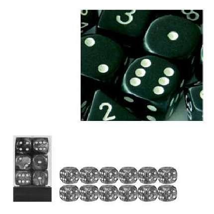 Chessex Dice d6 Sets: Opaque Black with White - 16mm Six Sided Die (12) Block of Dice