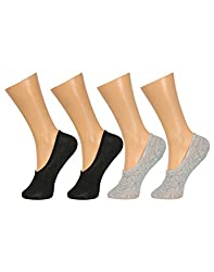 Gumber Pack of 4 Pairs of Black & Grey Solid No Show Socks(GE_LOAFER_BLK_BLK_GRY_GRY)