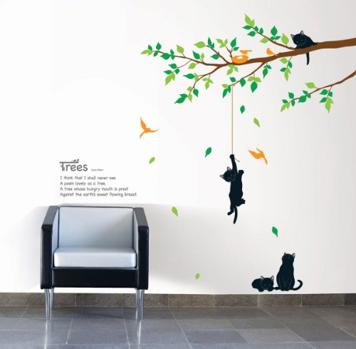 Jiniy CATS & TREE WALL ART DECOR Mural Decal STICKER(KR0043)
