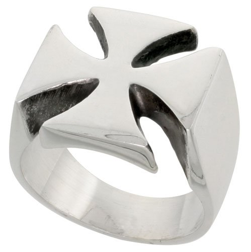 Sterling Silver Heavy Men's Iron / Maltese Cross Ring 16 mm wide size L