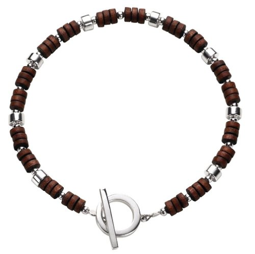 Fred Bennett Men's B2406 T Bar Bracelet with Silver and Wooden Beads
