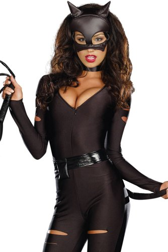 Night Prowler Catwomen Catsuit Jumpsuit Halloween Costume Roleplaying (M)