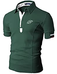 Doublju Mens Polo T-shirts with Short Sleeve GREEN (US-L)