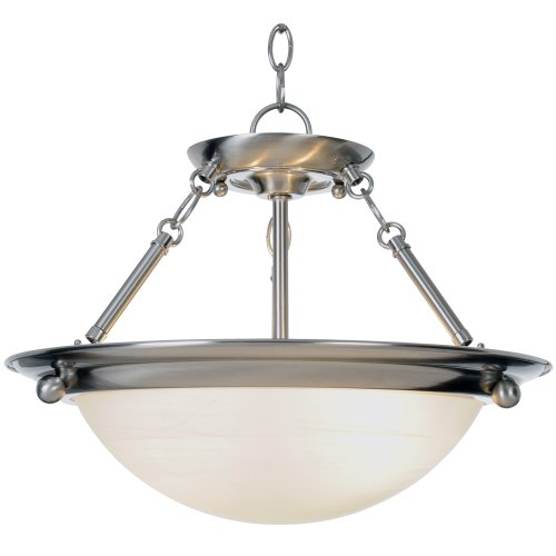 AF Lighting 560795 15-1/2-Inch W by 13-1/4-Inch H Lunar Bay Lighting Collection 2-Light Pendant, Brushed Nickel