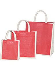 JO'S Jute Bag For Grocery,Shopping,Lunch Bag,Gift Bag ,Multi Purpose Bag (Small,Medium & Large) + Free USB LED...