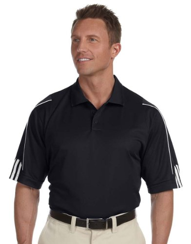 adidas Golf Men's climalite 3-Stripes Cuff Polo, Large, BLACK/WHITE