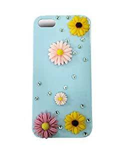 Luxaim Diamond Pearl Designed Radical White iPhone 5 Case With Multicolor Flowers