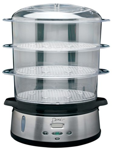 Deni 7600 3-Tier 9-1/2-Quart Stainless-Steel Digital Food Steamer