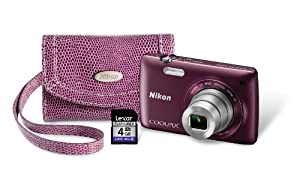 Nikon COOLPIX S4300 Digital Camera with 4 GB Memory Card, Case, and Strap (Plum)