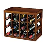 12 Bottle Cube-Stack Wine Rack -Walnut Stain