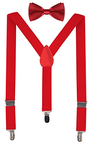 BODY STRENTH Boys Leather Suspenders for Kids Red Bow Ties for Big Boys 22 Inches (7 months - 3years) Red