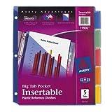 Avery Big Tab Plastic Dividers, Slash Pocket, 5-Tab, Letter, Assorted