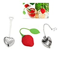 Tea Infuser Strainer Variety Pack by JERN (3 Pcs includes Heart shaped tea infuser with stick, Heart shaped tea infuser with chain, Strawberry tea infuser)