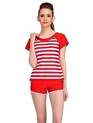 Clovia Cute Beach Wear In Red StripesSM0038P04-L