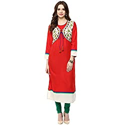 Luck In Women's Cotton Straight Kurti (LIN104RD_Red_L)