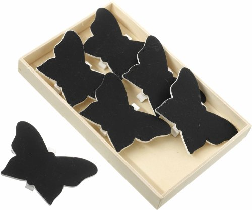 Set of 6 Butterfly Clips In Wooden Box