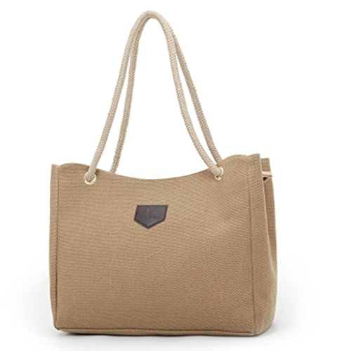 Sunwel-Beige-Color-Cotton-Notebook-Computer-Tablet-iPad-Spacious-Shoulder-Handbag-Tote-with-Rope-Handle-with-Zipper-Closure-for-Office-Ladies-Fit-for-Ipad-Up-to-14-inch-Laptop
