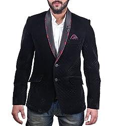 FashionSeva Men's Blazer (Blaz-001_Black_40)