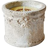 St Eval Rustic Terracotta Baroque Round Candle Pot - Sea Salt (Indoor/Outdoor)