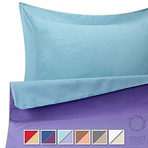 Duvet Cover Set for Comforter, Queen, Reversible Aqua Light Blue and Lavender