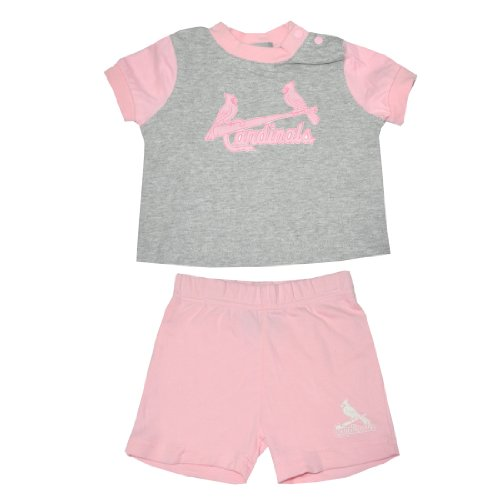 2 PCS Set: MLB St. Louis Cardinals Infant Girls T Shirt & Shorts 12M Pink &Grey at Amazon.com