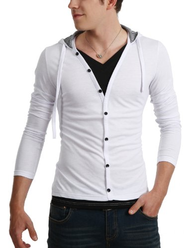 9Xis Mens Casual Button-Down Denim Jacket WHITE XL (9MO029)