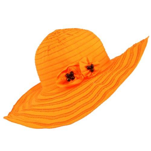 UPF 50 Sun Beach Hat Floppy Floral Straight Brim Orange