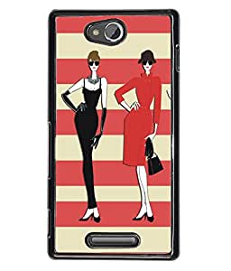 Fuson Red Cream Pattern Girl Back Case Cover for SONY XPERIA C - D3723