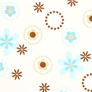white Robert Kaufman circle and flower flannel fabric (per 0.5m multiple)