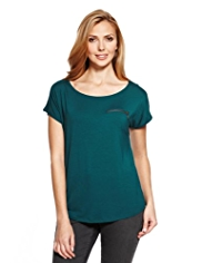 M&S Collection Cap Sleeve Zip Pocket Top