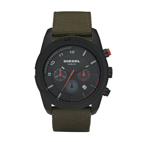 Diesel Men's Chronograph Watch Dz4189 With Green Canvas Strap