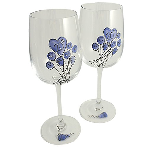 20th Wedding Anniversary Wine Glasses Pair