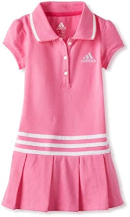 Adidas Little Girls' Pretty Pleats Polo Dress, Pink, 4