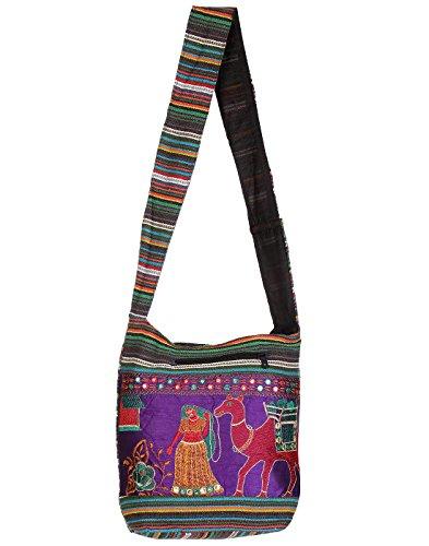 Rajrang Indain Designs Camel Printed Canvas Patch Work Violet Sling Bag