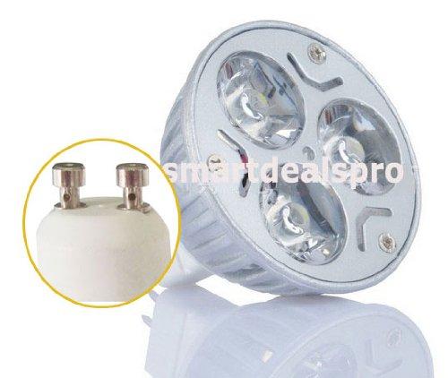 Smartdealspro 10-Pack 3*1W Gu10 4000-4500K Pure White 85V-265V Led Light Bulb Spot Light Lamps With Free Cable Tie