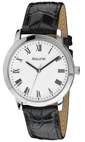 Accurist Men's Quartz Watch with White Dial Analogue Display and Black Leather Strap MS676WR