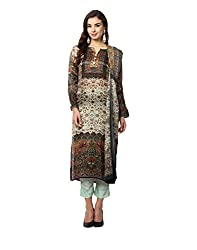 Yepme Women's Brown Blended Semi Stitched Suit - YPMRTS0345_Free Size