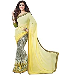 Arth Fashion Women's Georgette printed Saree With Blouse Piece (AYESHA9_Yellow_FreeSize)