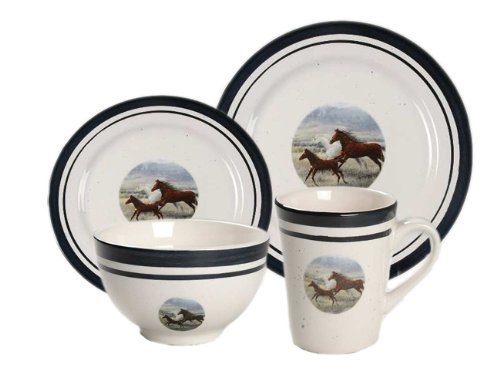 Gibson Wild Horse Dinnerware 16 Piece Dishes Dinner Set