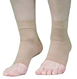 OrthoSleeve FS6 Compression Foot Sleeve (Pair), Natural, XS