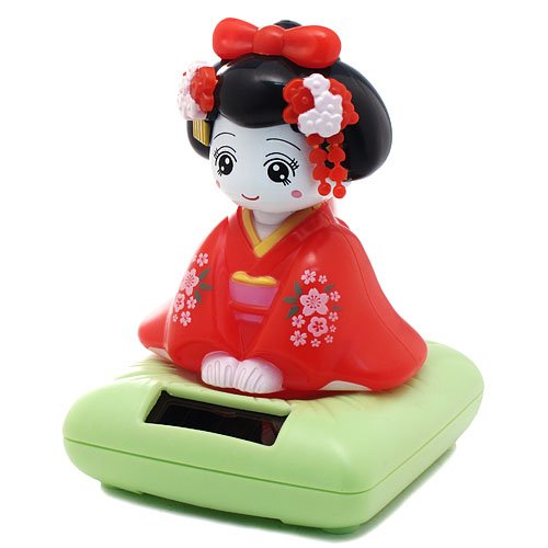 Solar Bobblehead Toy Figure, Maiko Geisha - 1