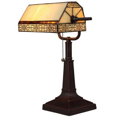 Banker's 16.25 in. Oil Rubbed Bronze Desk Lamp with CFL Bulbs and Vintage Tiffany Style Shade