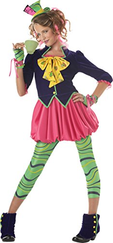 Girls The Mad Hatter Teen Kids Child Fancy Dress Party Halloween Costume