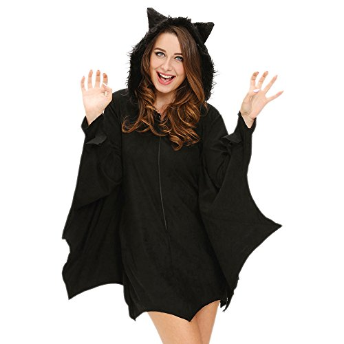 Slocyclub Women Cozy Bat Halloween Party Costume (Mad Hatter Coustume)