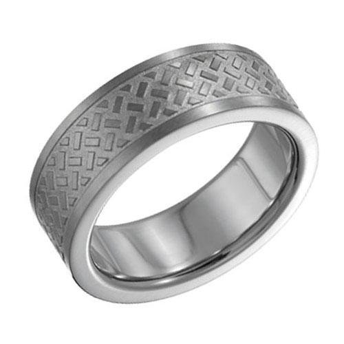 Titanium Engraved Weave Design Band - Size 8