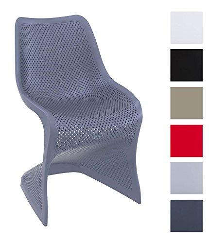CLP-Design-Kunststoff-Stuhl-BLOOM-stabiler-Gartenstuhl-Kchenstuhl-Freischwinger-mit-toller-Wabenoptik-FARBWAHL-dunkelgrau