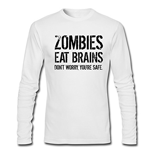 Men's Zombies Eat Brains Dont Worry U Are Safe White Funny Long T-Shirt