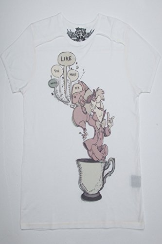 Plus Size Womens Disney Couture Mad Hatter Print Short Sleeve T-Shirt Size L 12-14 Cream