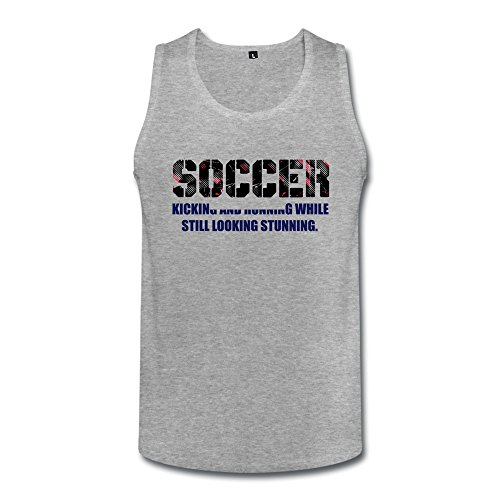 Heathergray Soccer Black Font Cool Tank Tops For Adult Size M